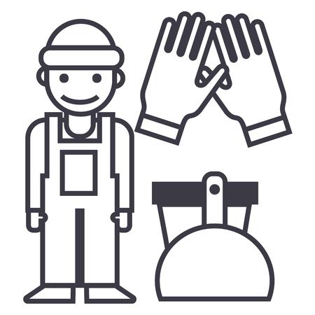 schoonmaakdienst, schoonmaak man, handschoenen, schep, emmer vector lijn pictogram, teken, illustratie op witte achtergrond, bewerkbare lijnen Stock Illustratie