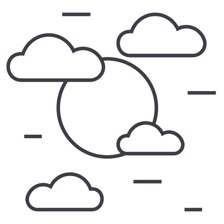 cloudy day vector line icon, sign, illustration on white background, editable strokes