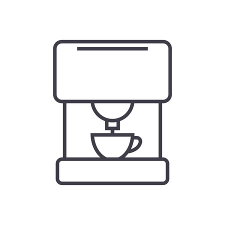 coffee machine vector line icon, sign, illustration on white background, editable strokes Çizim