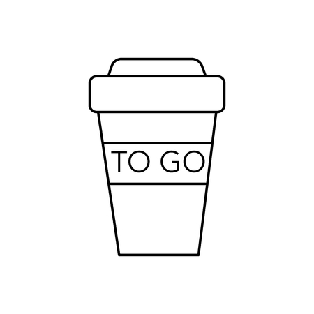 coffee to go cup vector line icon, sign, illustration on white background, editable strokes 向量圖像