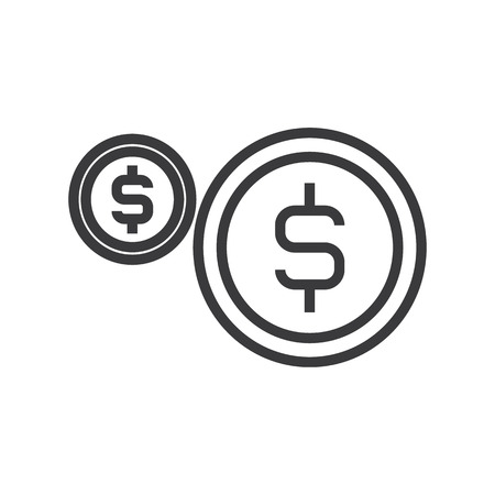 coins, usd vector line icon, sign, illustration on white background, editable strokes Иллюстрация