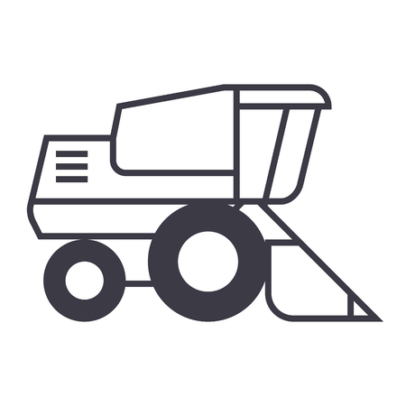 combine harvester vector line icon, sign, illustration on white background, editable strokes