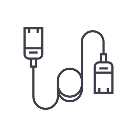 computer cable,ethernet vector line icon, sign, illustration on white background, editable strokes