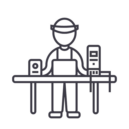 computer service,pc specialist,enigneer vector line icon, sign, illustration on white background, editable strokes Illustration