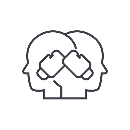 conflict illustratie, boksen in hoofden vector lijn pictogram, teken, illustratie op een witte achtergrond, bewerkbare lijnen Stock Illustratie