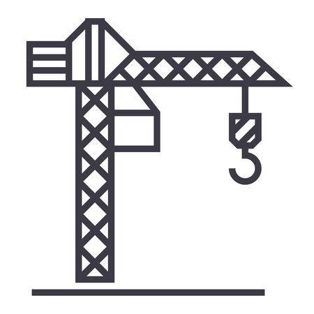 construction crane  vector line icon, sign, illustration on white background, editable strokes