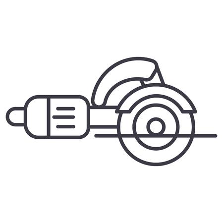 건설 도구, 퍼즐 절단기 벡터 라인 아이콘, 기호, 흰색 배경에 그림 편집 가능한 획