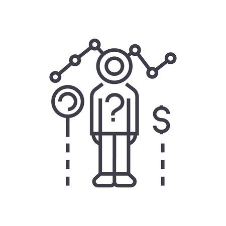 consumentenonderzoek vector lijn pictogram, teken, illustratie op witte achtergrond, bewerkbare lijnen Stock Illustratie
