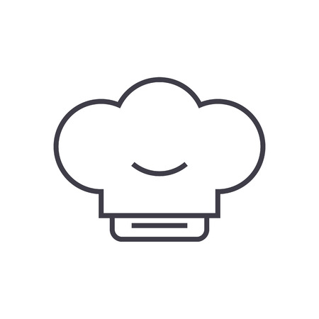 cook hat vector line icon, sign, illustration on white background, editable strokes