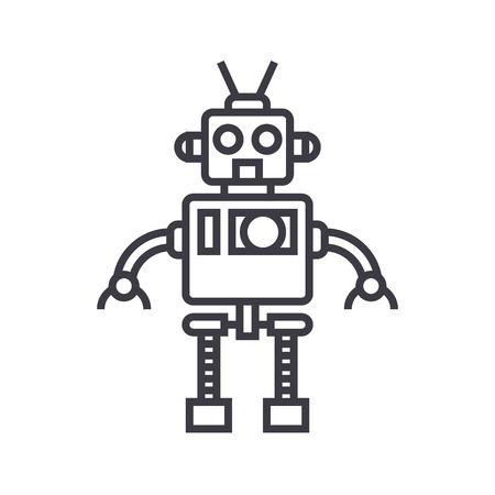 cool robot vector line icon, sign, illustration on white background, editable strokes