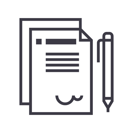 contract vector line icon, sign, illustration on white background, editable strokes