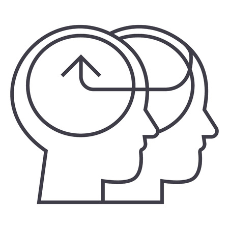 cooperative human heads,collective decision vector line icon, sign, illustration on white background, editable strokes
