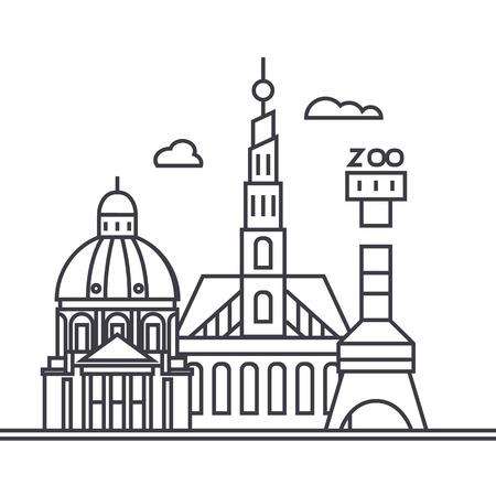 코펜하겐, 덴마크 벡터 라인 아이콘, 기호, 흰색 배경에 그림 편집 가능한 획