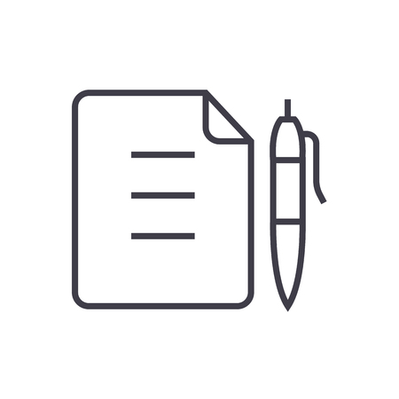 contract,document file with pen vector line icon, sign, illustration on white background, editable strokes Illustration