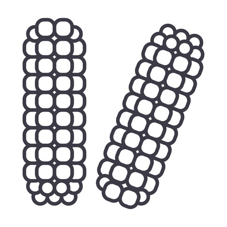 corn, maize vector line icon, sign, illustration on white background, editable strokes