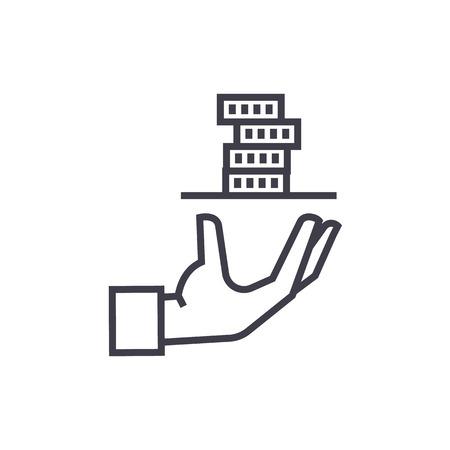 contributeur, main de service avec icône de ligne pour le vecteur argent, signe, illustration sur fond blanc, traits modifiables Vecteurs