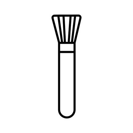 화장품 브러쉬 벡터 라인 아이콘, 기호, 흰색 배경에 그림 편집 가능한 획