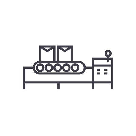 conveyor belt vector line icon, sign, illustration on white background, editable strokes Illustration