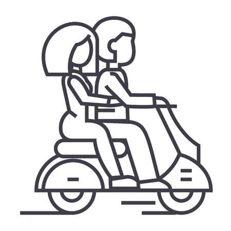 couple in love riding a scooter vector line icon, sign, illustration on white background, editable strokes Ilustração