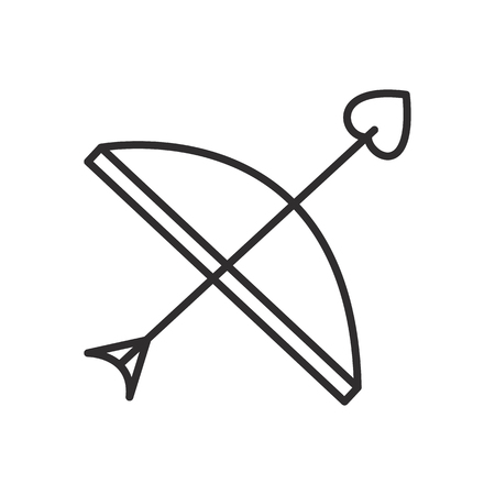 cupid bow and arrow  vector line icon, sign, illustration on white background, editable strokes Illustration