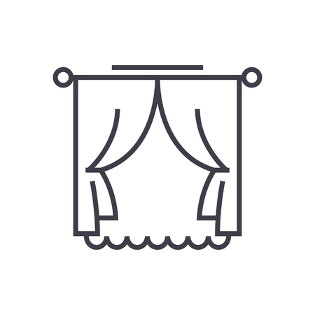 curtains with window vector line icon, sign, illustration on white background, editable strokes