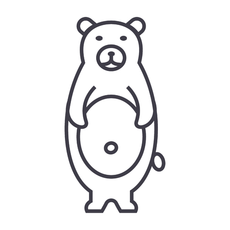 cute bear vector line icon, sign, illustration on white background, editable strokes