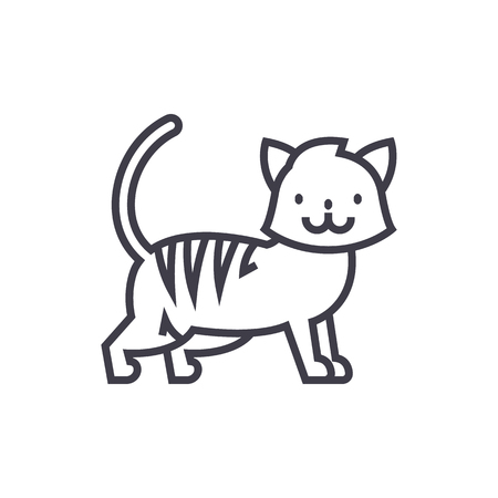 silueta de gato: cute cat  vector line icon, sign, illustration on white background, editable strokes