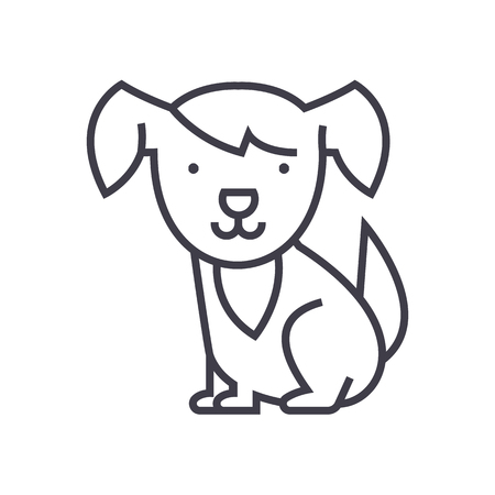 cute dog vector line icon, sign, illustration on white background, editable strokes