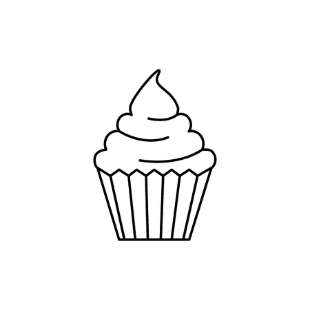 cream cupcake vector line icon, sign, illustration on white background, editable strokes Ilustracja
