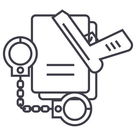 criminal law,handcuffs,docs,gun,evidence vector line icon, sign, illustration on white background editable strokes