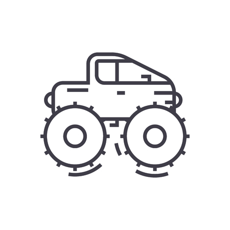 cross country vehicle,jeep vector line icon, sign, illustration on white background, editable strokes Illustration