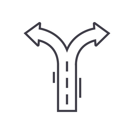 crossroad arrows vector line icon, sign, illustration on white background, editable strokes