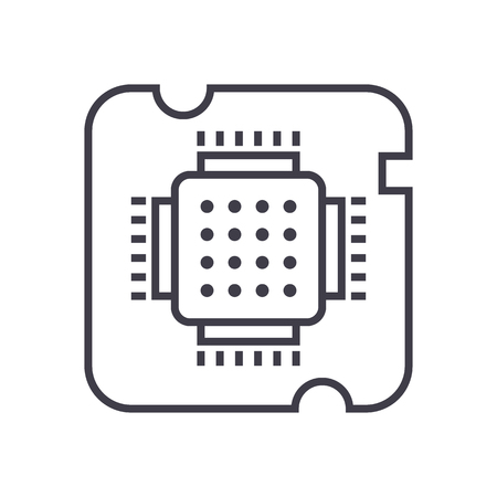 electronic components: cpu socket,chip vector line icon, sign, illustration on white background, editable strokes