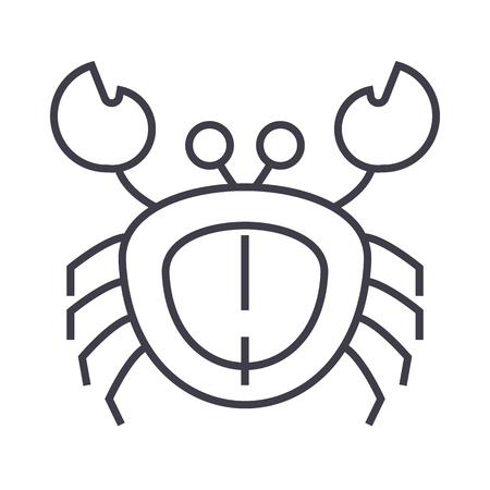 カニのベクター線のアイコン、記号、白い背景に、編集可能なストロークの図  イラスト・ベクター素材