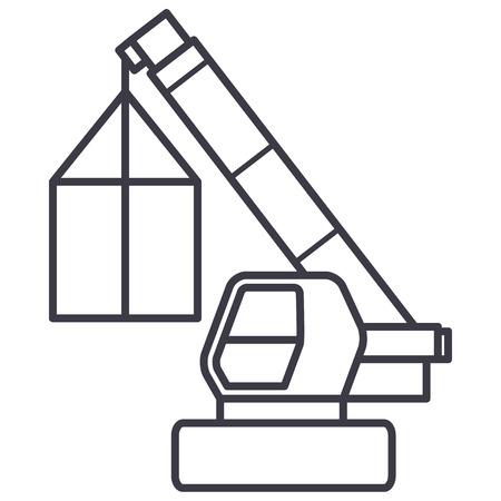 Grue, logistique de fret, icône de ligne de vecteur de dépanneuse, signe, illustration sur fond blanc, traits modifiables Banque d'images - 87221894