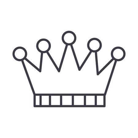 Icono de línea de vector de corona, signo, ilustración sobre fondo blanco, trazos editables Foto de archivo - 87221896