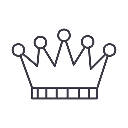 crown vector line icon, sign, illustration on white background, editable strokes Illustration