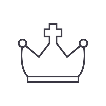 crown with cross vector line icon, sign, illustration on white background, editable strokes Illusztráció