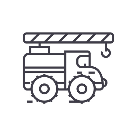 car wash: Crane arm car vector line icon, sign, illustration on white background, editable strokes
