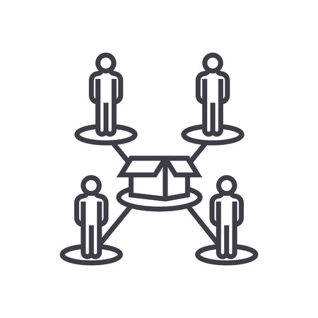 crowdfunding,people network vector line icon, sign, illustration on white background, editable strokes