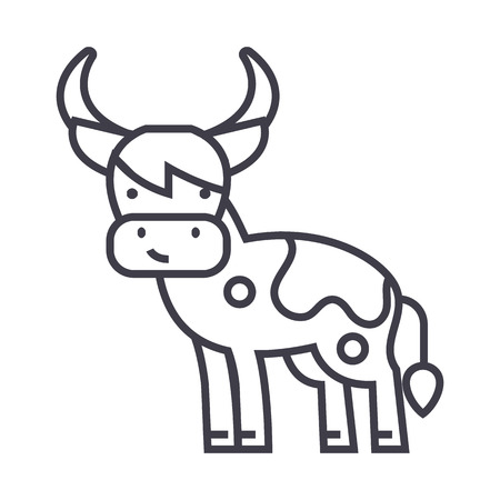 cute cow  vector line icon, sign, illustration on white background, editable strokes