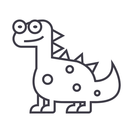 triceratops: cute dino,dinosaur  vector line icon, sign, illustration on white background, editable strokes