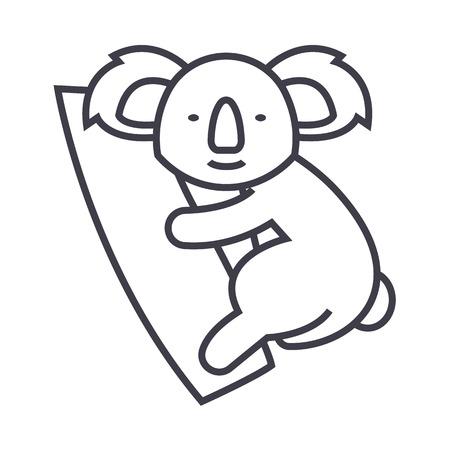 cute koala vector line icon, sign, illustration on white background, editable strokes