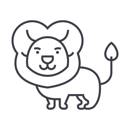 cute lion  vector line icon, sign, illustration on white background, editable strokes