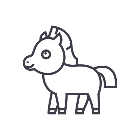 cute foal horse vector line icon, sign, illustration on white background, editable strokes