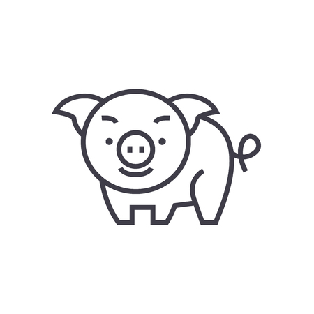 cute pig vector line icon, sign, illustration on white background, editable strokes Illustration