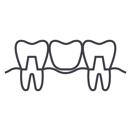 denture vector line icon, sign, illustration on white background, editable strokes