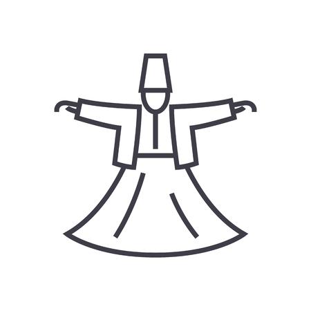 ダーヴィッシュ ダンス、イスラム教ベクトル線アイコン、記号、白い背景に、編集可能なストロークの図