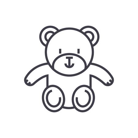 child sitting: cute teddy bear vector line icon, sign, illustration on white background, editable strokes Illustration