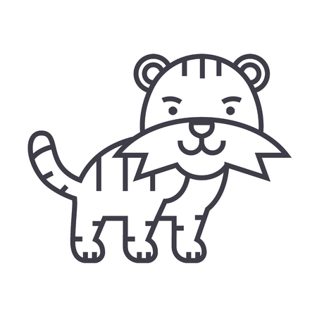 silueta de gato: cute tiger vector line icon, sign, illustration on white background, editable strokes Vectores